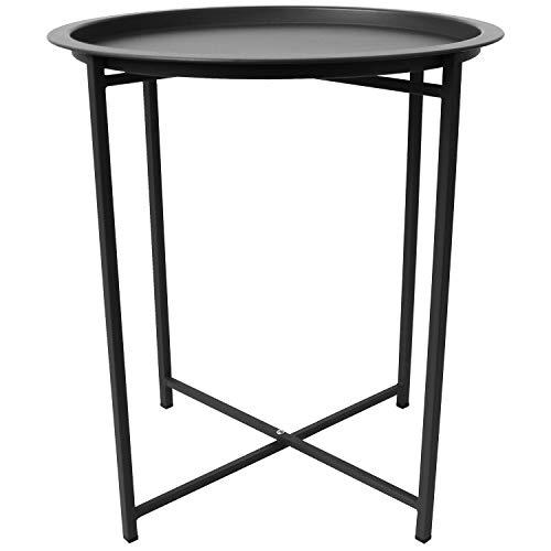 Multistore 2002 Metalltisch Serviertisch Gartentisch Tabletttisch Balkontisch Beistelltisch rund Ø46x52cm, Farbe:Schwarz