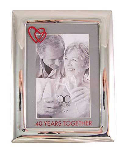 Silver Tone 40 Years Together Tabletop Anniversary Frame, 8 1/2 Inch