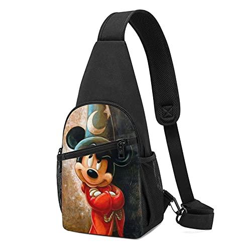 Micky Maus Zaubererhut, Brusttasche, langlebig, hohe Kapazität, bequem, exquisites gedrucktes Muster, lässig, Mode, Schultertasche, Umhängetasche.