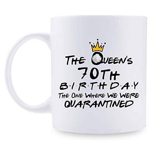 aiyaya 70th Quarantine Birthday Gifts for Women - The Queen's 70th Birthday Quarantine Mug - 70 Year Old Present Ideas for Wife, Mom, Daughter, Sister, Grandma, Friend, Colleague - 11 oz Coffee Mug