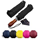 Lejorain Auto Open Close Large Travel Umbrella with 210T Teflon Windproof Double Canopy