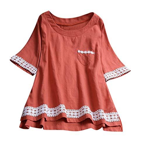MRULIC Damen Langarm Shirt Beiläufige Lose Baumwolle Frühling Herbst Tops Solide Elegante T-Shirt Freizeithemd(C2-Orange,EU-48/CN-4XL)