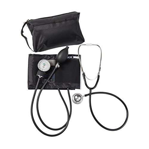 MABIS Blood Pressure Cuff and Dual Head Stethoscope Kit, Combination Home Sphygmomanometer with Calibrated Nylon Cuff, Professional Quality, Carrying Case, Black