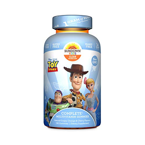 Sundown Kids Disney and Pixar Toy Story 4 Multivitamin Gummies, Vitamins A, C, D, E, Gluten-Free, Dairy-Free, Peanut-Free, 180 Count