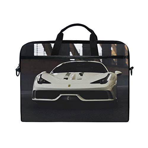 Ferrari 458 Ferrari Sports Car Laptop Shoulder Messenger Bag Case Sleeve for 14 Inch to 15.6 Inch with Adjustable Notebook Shoulder Strap