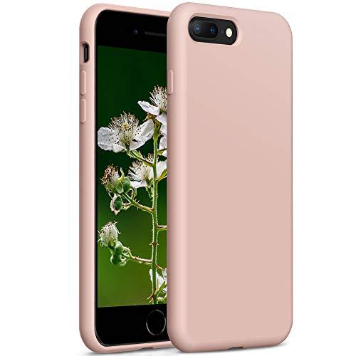YATWIN Compatibile con Cover iPhone 8 Plus 5,5'', Compatibile con Cover iPhone 7 Plus Silicone Liquido, Protezione Completa del Corpo con Fodera in Microfibra, Rosa Sabbia