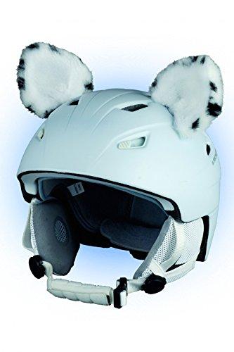 Crazy Ears Helm-Accessoires Ohren Katze Tiger Lux Frosch, Ski-Ohren geeignet für Skihelm, Motorradhelm, Fahrradhelm und vieles mehr, CrazyEars:Weiße Katzen Ohren