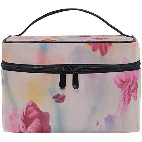 Organisateur de stockage de cas de train de maquillage de voyage de sac cosmétique d'art de fleurs