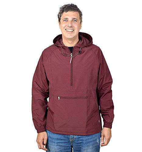 Outdoor Shaping Men's Pullover Rain Jacket Hooded Windbreaker Raincoat Waterproof Lightweight, Maroon, Large