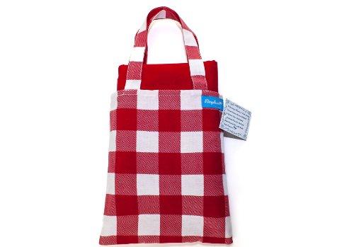 Ringelsuse Picknickdecke Freizeitdecke Picknick Decke Karo Rot Weiß Kariert mit Tragetasche 102 x 132 cm 100% Baumwolle Fair-Trade