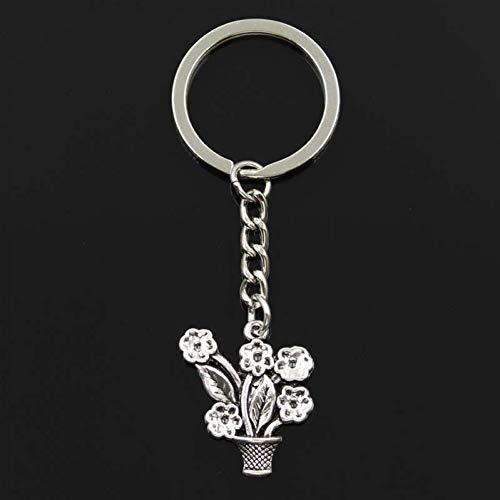 YCEOT Fashion bloempot 28X25Mm hanger 30Mm sleutelring metalen ketting zilver kleur mannen auto geschenk souvenirs sleutelhanger