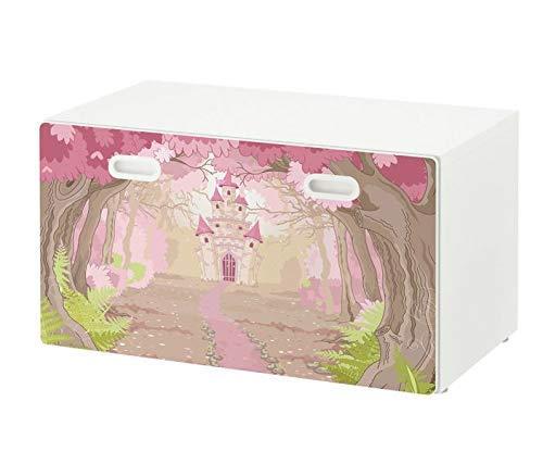 Möbelaufkleber für Ikea STUVA FRITIDS Bank mit Kasten Kinderzimmer Cartoon Schloss rosa Palast Kat2 Baumkrone Wald Blumen Weg STF1 Aufkleber Möbelfolie Folie (Ohne Möbel) 25O2635