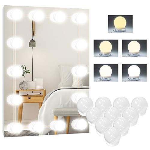 Led Spiegelleuchte, 5 Farben Hollywood Licht für Spiegel, 10 Dimmbar Schminklicht Make Up Licht, Beauty Schminktisch Leuchte, Schminkleuchte, Spiegellampe für Kosmetikspiegel, Badzimmer Spiegel