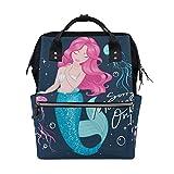 Meerjungfrauen-Rucksack mit rosa Haaren, große Kapazität, multifunktional, Reisetasche für Mütter und Frauen