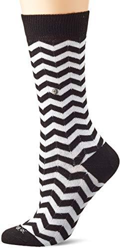 Burlington Damen Zig Zag Stripe Socken, schwarz (Black 3000), Einheitsgröße (DE 36-41)