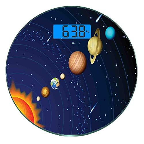 Digitale Präzisionswaage für das Körpergewicht Runde Platz Ultra dünne ausgeglichenes Glas-Badezimmerwaage-genaue Gewichts-Maße,Sonnensystem mit Sonne Uranus Venus Jupiter Mars Pluto Saturn Neptun Bil