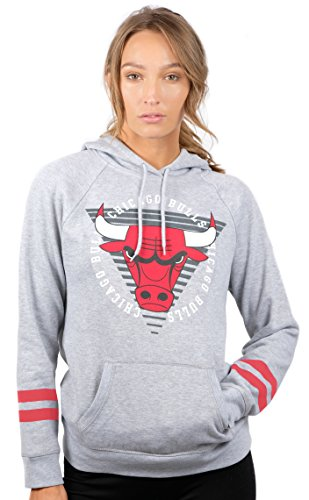 Ultra Game NBA Damen Sweatshirt mit Kapuze, weicher Fleece-Pullover mit Varsity-Streifen, Damen, Varsity Stripe Fleece Pullover Hoodie Sweatshirt, Grau meliert, Large