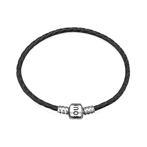 Soulbeads Jewelry Pulsera de Cuero Negro con Cierre de Broche de Plata de Ley 925 para Colgantes