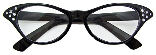 Fifties Cat Eye Brille Diamond Schwarz