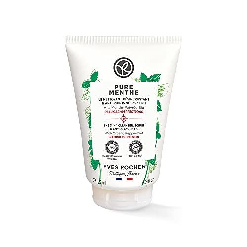 Yves Rocher PURE MENTHE 3-in-1 Reinigung Peeling Anti-Mitesser, mit Bio-Pfefferminze, für strahlende Haut, 1 x 125 ml Tube