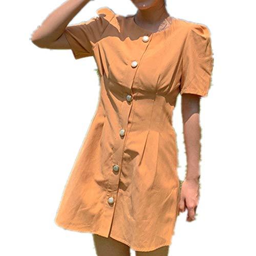 NOBRAND Vestido de verano para mujer, cuello redondo, con un solo pecho, para mujer