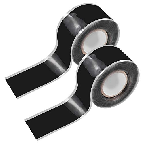 Chstarina 2 Rollen Selbstverschweißendes Silikonband Isolierbänder zur Reparatur Wasserfest Silikon Reparaturband Dichtungsband für Rohr Wasserschläuche 25mm × 6m Schwarz