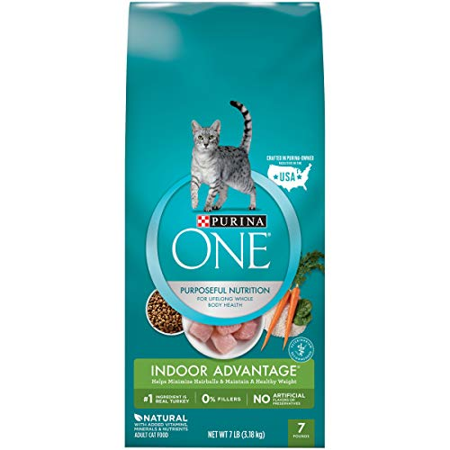 Purina ONE Hairball, Weight Control, Indoor, Natural Dry Cat Food, Indoor Advantage - 7 lb. Bag