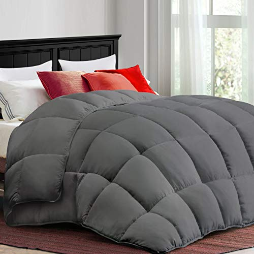 COONP All Season Full Comforter Soft Quilted Duvet Insert with Corner Tabs, Filled with 3D Snow Down Alternative,Winter Warm, Machine Washable-82 x 86 Inches,Grey
