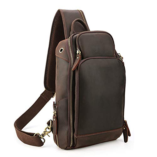 OakHide Mens Genuine Leather Sling Chest Bag Cross Body Shoulder Daypacks For 10.5 Inches iPad