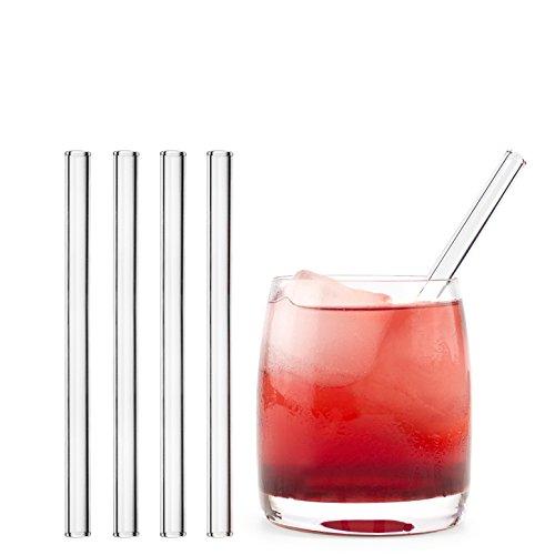 HALM Glas Strohhalme Wiederverwendbar Glastrinkhalme - 4 Stück kurz gerade 15 cm + plastikfreie Reinigungsbürste