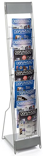 """Portable Literature Stand with 10 Pockets for 8.5x11 Magazines, Carrying Bag Included, 54""""h Floor-Standing Magazine Rack with Tiered Design, Steel (Silver)"""