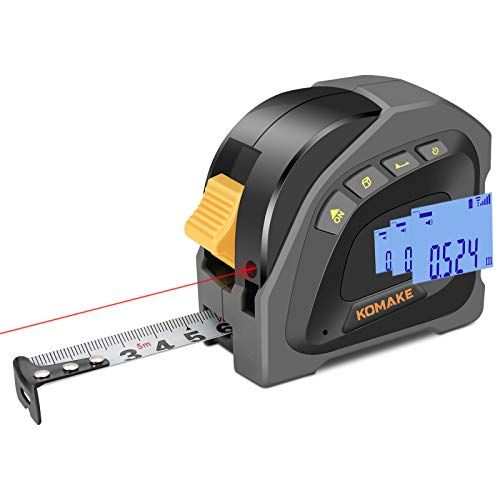 Laser Massband Entfernungsmesser 2 In 1,40+5M Wiederaufladbar Lasermessgeräte,M/Ft/In, Ein-Klick-Änderung Ausgangspunkt der Messung, Pythagoras/Entfernung/Fläche/Volumen messen