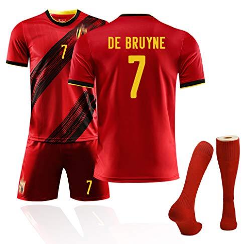 Fußballtrikots Erwachsene Männer und Kinder, Trikot der belgischen Fußballfans für den Europapokal 2020, Personalisierte Fußballanzüge Mannschaftsuniformen Trainingsuniformen mit Fußballsocken-