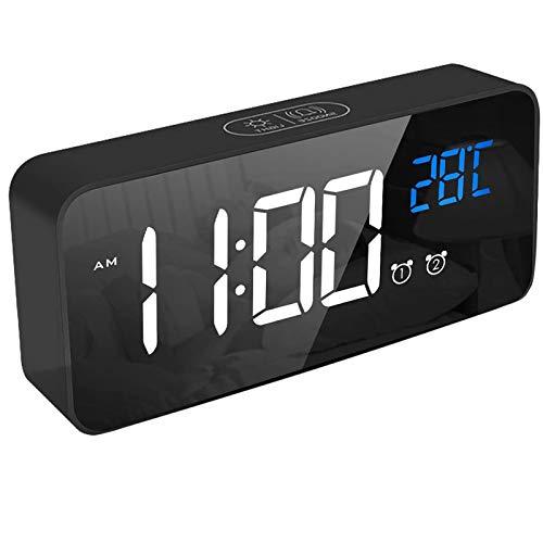 Despertador digital, reloj despertador LED con función de repetición, carga de puerto USB