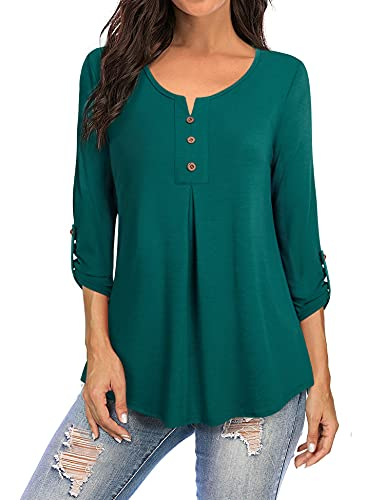 Furnex Camisas casuales de manga 3/4 para mujer con cuello redondo, blusas plisadas con botones, cian(Deep Cyan), M