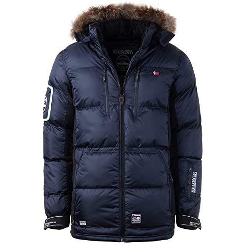 Geographical Norway DANONE MEN - Herren Warme Jacke - Mantel Kapuze WinterJacke Outdoor - Winter Jacke Herrenjacke Outdoorjacke Dicke - Ideal Jacke Geschenk Für Männer (MARINE L)