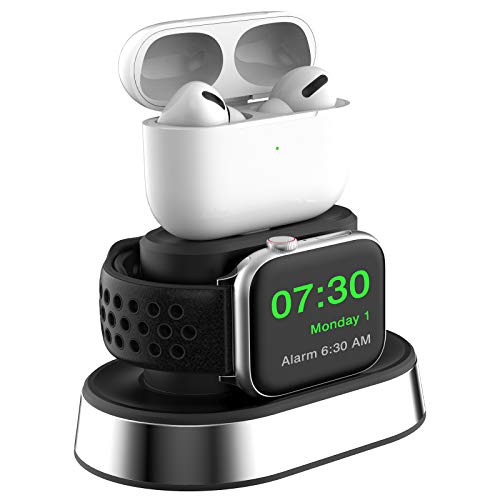 ThEast 2 in 1 Charger Stand Compatible for Apple Watch Series 1/2 / 3/4 / 5/6 / SE, iWatch 38mm 40mm 42mm 44mm, AirPods 1 / AirPods 2 / AirPrds Pro (Charger not Included) (Black)