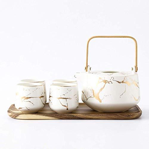 n.g. Wohnzimmer-Accessoires Teeservice Teetassen-Set Marmor-Teeservice-Set Keramik Große Teekanne 4-teilig Teetassen mit Holztablett Teetassen-Set für Zuhause und Büro (Farbe : Weiß)