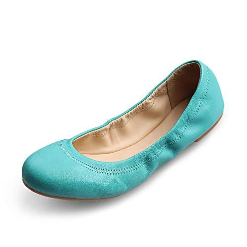 Xielong Women's Emmie Chaste Ballet Flat Lambskin Loafers Casual Ladies Shoes Leather (10.5B(M) US, Blue)