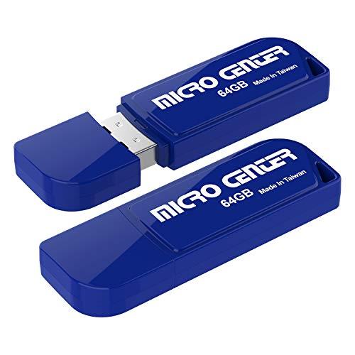 Micro Center 2 Pack 64GB USB 2.0 Flash Drive USB Stick External Data Storage Mini Thumb Drive with Keychain Hole(64GB-2 Pack, Blue)