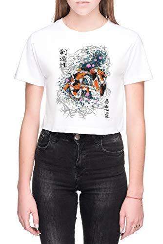 Pak Slaag Koi Dames Crop T-Shirt Wit Women's Crop T-Shirt White