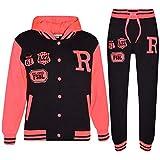 A2Z 4Kids - Tuta da baseball, logo NYC Fox, giacca con cappuccio e pantaloni sportivi, unisex, per bambini Fox Black & Neon Pink 11-12 Anni