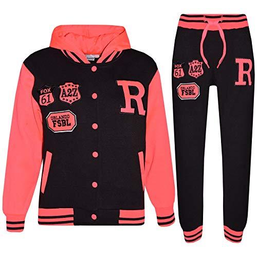 A2Z 4 Kids Kinder Mädchen Jungen Baseball Trainingsanzug - T.S Baseball Fox Black & Neon Pink 3-4
