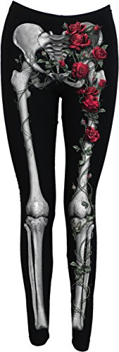 Spiral Direct Damen Rose Bones-Allover Comfy Fit Black Legging, Schwarz 001, 42 (Herstellergröße: Large)