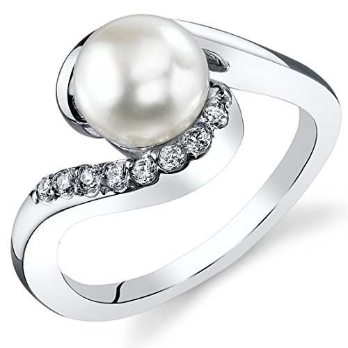 Peora Freshwater Cultured White Pearl Bypass Ring in Sterling Silver, 7mm Round Button Shape, Comfort Fit, Size 6 Comfort Fit Solitaire Setting