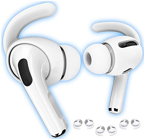 Mat'ket Ear Hooks Oreille Couvertures de Crochets et Accesoires de Protection pour Apple Airpods Pro Casque et Earpods Pro Casque écouteurs en Silicone (3 Paires) Blanc Parfait pour Le Sport