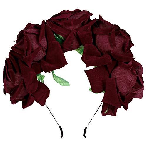 Frcolor Diadema de flores de color rosa corona coronas de pe