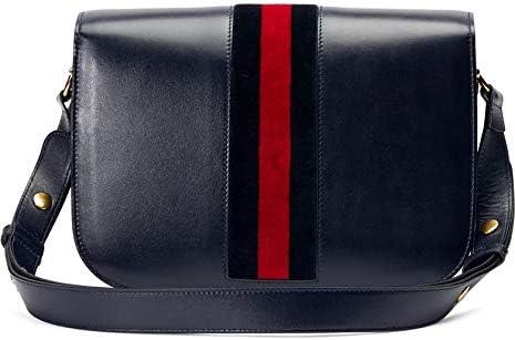 GUCCI Small 1955 Horse bit Navy Blue Red leather handbag shoulder bag NEW
