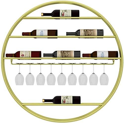 TUHFG Botellero rústico apilable, Estante del Vino de Oro Forjado Material Hierro, Hogar Copa de Vino, Vino montado en la Pared Soporte de exhibición, cáliz Holder (Color : Gold)