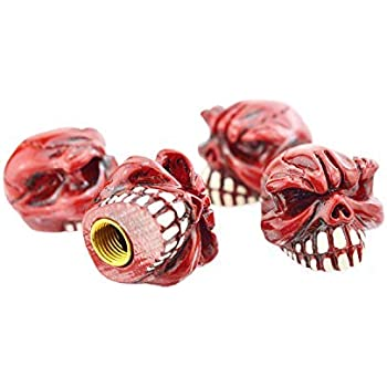 Lunsom Valve Stem Caps Car Wheels Valves Hole Cover Accessories Fit Most Vehicles Motorcycle 4PCs Red